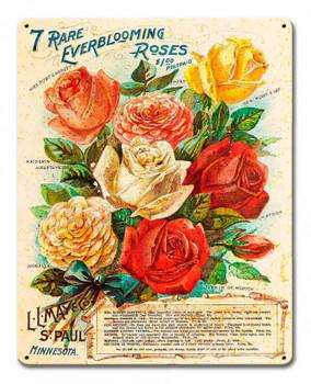 Vintage Roses Metal Sign