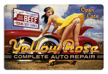 Yellow Rose Auto Repair Pin Up Metal Sign