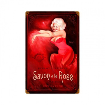 Savon Rose Pin Up Metal Sign