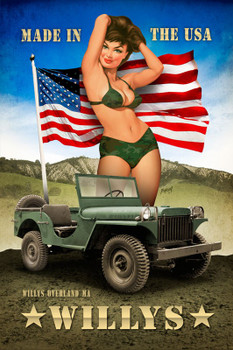 Willys Military Pin Up Metal Sign