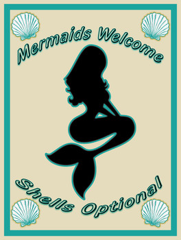 Mermaids Welcome metal sign