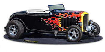 1932 Flames Roadster metal sign