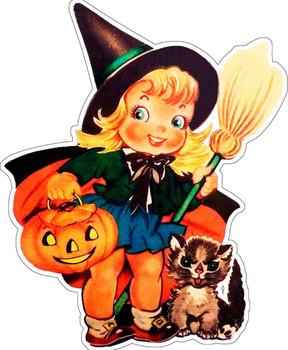 Little Halloween Witch plasma cut metal sign