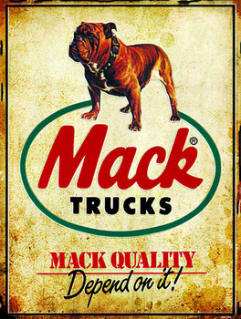 Mack Trucks Logo with Bulldog metal sign