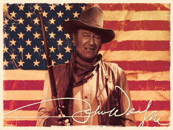 John Wayne Patriot with American Flag metal sign