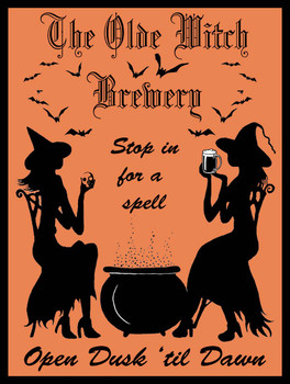 The Olde Witch Brewery Metal Sign