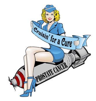 Cruisin' for a Cure Bomber Girl Metal Sign