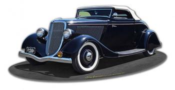 1934 Ragtop Rod Classic Car Plasma Metal Sign