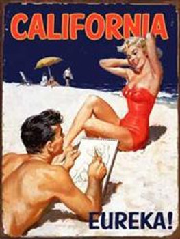 California Pinup Metal Sign