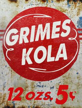 Grimes Kola Soda Pop Metal Sign