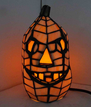 "Jack-O-Lantern Pumpkin 8.5"" Stained Glass Accent Lamp 68100"