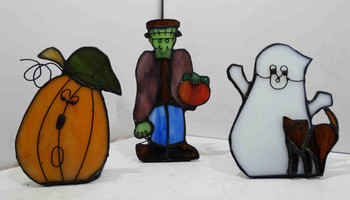 Trick or Treat Tea Light Set of Pumpkin, Ghost, and Frankenstein