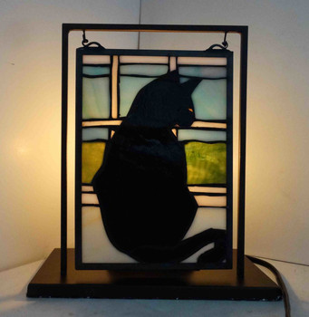 Black Cat Halloween Tabletop Stain Glass Window with Stand