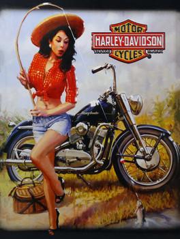 Gone Fishing Pin-Up Harley Davidson Metal Sign