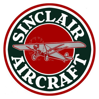 Sinclair Aircraft Round Metal Sign