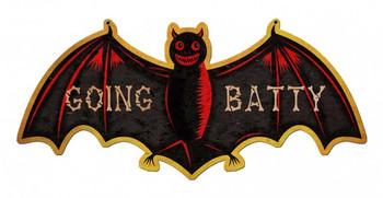 Going Batty Bat metal sign