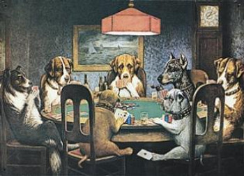 Seven Dogs Playing Poker Metal Sign