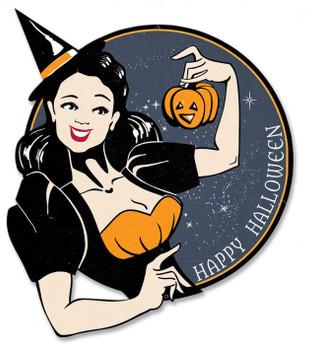 Witch Wishing a Happy Halloween Plasma Metal Sign
