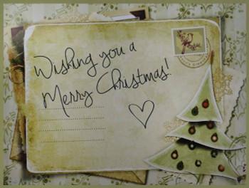 Wishing You a Merry Christmas Postcard Metal Sign