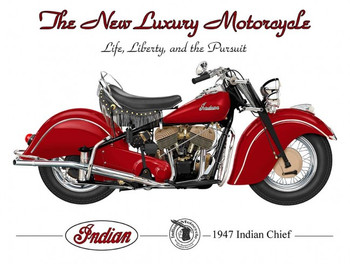 1947 INDIAN CHIEF Motorcycle by Terry Pastor Metal Sign