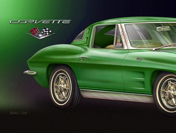 1963 Corvette Green Fishel Metal Sign