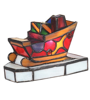 Santa's Sleigh with Presents Stained Glass Christmas Accent Lamp 82156