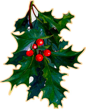 Christmas Holly vintage style metal sign
