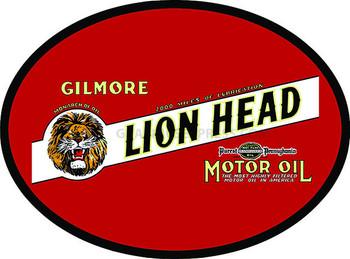 """GILMORE LIONHEAD Motor Oil  18"""" OVAL Metal Sign"""