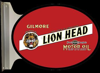 """GILMORE LIONHEAD Motor Oil 18"""" FLANGE SIGN"""