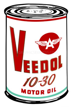 "Red Veedoil 18"" Oil Can Metal Sign"