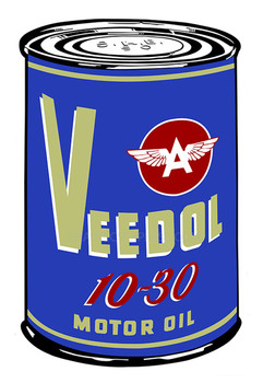 "Blue Veedoil 18"" Oil Can Metal Sign"