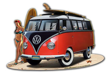 VW Van / Pin-Up Plasma Cut Metal Sign