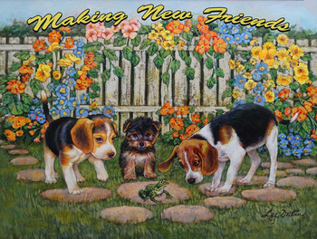 Making New Friends, Three Puppies by Lee Dubin