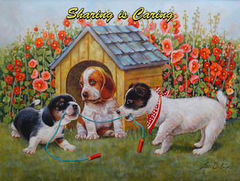 Three Puppies Playing by Lee Dubi