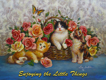 Three Kittens and Butterfly by Lee Dubin