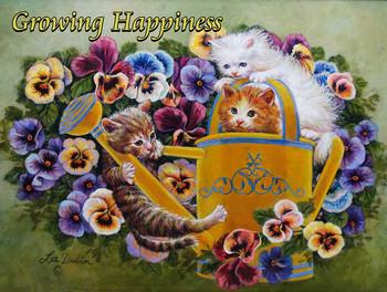 Three Kittens Gardening by Lee Dubin