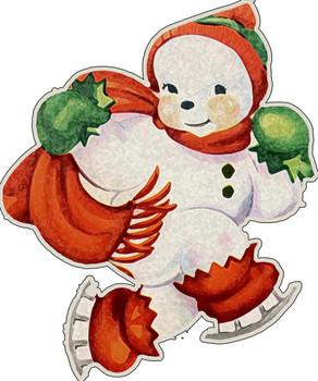 Ice Skating Snowman Plasma Metal Sign