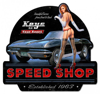 Keys to Your Heart Speed Shop Pin-Up Metal Sign