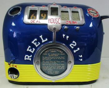 "REEL ""21"" FIVE REEL TRADE STIMULATOR GUM BALL SLOT MACHINE Circa 1930's"