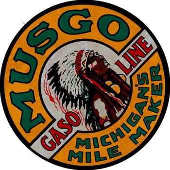 """Musgo Gasoline 14"""" Round Sign"""