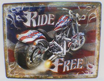 Ride Free Motorcycle Metal Sign