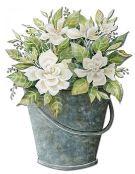 White Flower Bucket Plasma Cut Metal Sign