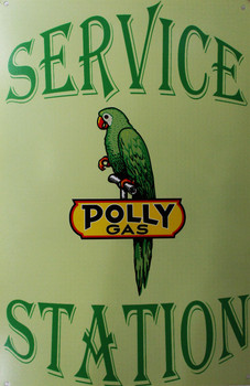 Polly Gas Service Station Metal Sign