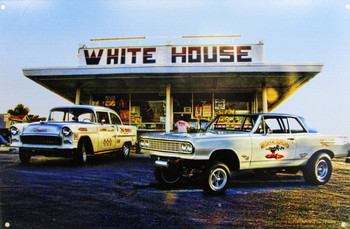 White House Burgers / Gassers Metal Sign