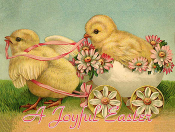 Joyful Easter Chicks Metal Sign