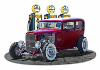 1932 Rod Sedan Fill Up at Richfield Gas Plasma Cut Metal Sign