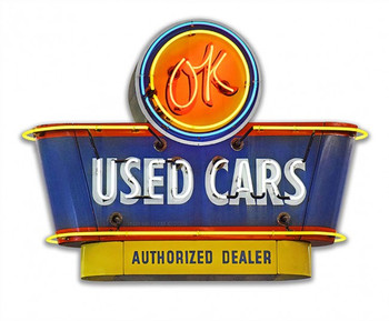 1950's OK Used Cars Authorized Dealer Neon Style Plasma Cut Metal Sign