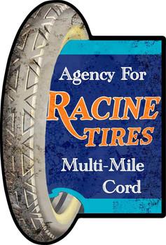 Racine Tires Multi-Mile Cord Plasma Cut Metal Sign