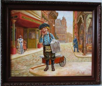 """Lee Dubin Framed Original Painting """"Newspaper Peddler"""""""