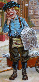 "Lee Dubin Framed Original Painting ""Newspaper Peddler"""